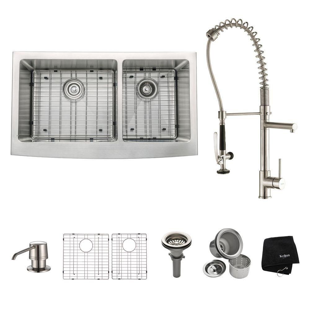 36 Inch Farmhouse Double Bowl Stainless Steel Kitchen Sink with Stainless Steel Finish Kitchen Faucet and Soap Dispenser KHF203-36-1602-30SS in Canada