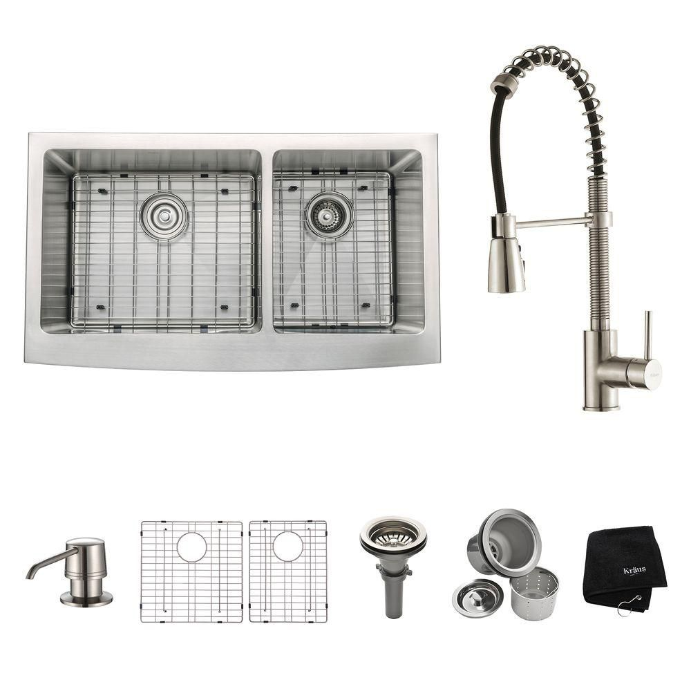 36 Inch Farmhouse Double Bowl Stainless Steel Kitchen Sink with Stainless Steel Finish Kitchen Fa...