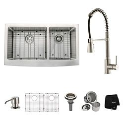 Kraus 36 Inch Farmhouse Double Bowl Stainless Steel Kitchen Sink with Stainless Steel Finish Kitchen Faucet and Soap Dispenser