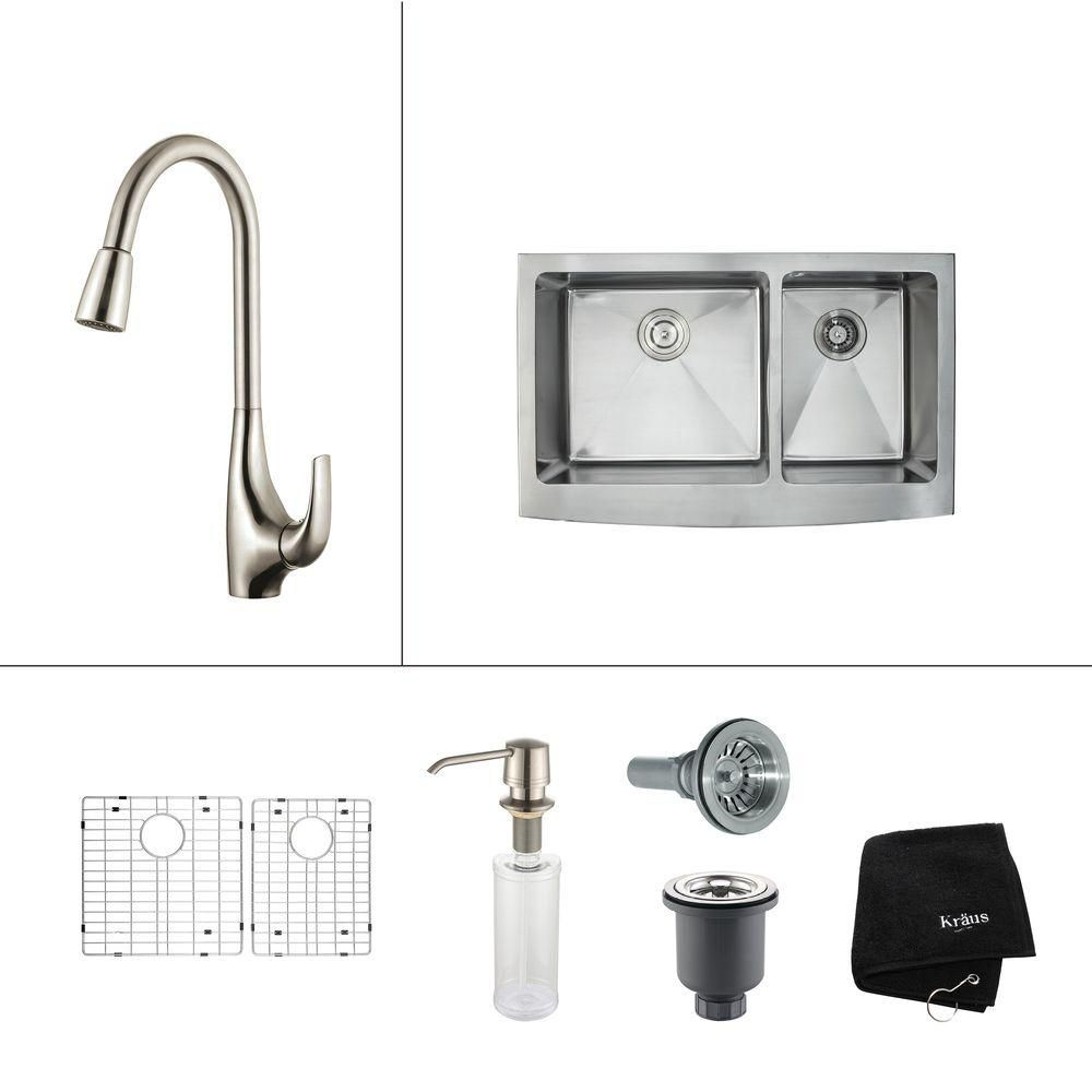 36 Inch Farmhouse Double Bowl Stainless Steel Kitchen Sink with Stainless Steel Finish Kitchen Faucet and Soap Dispenser