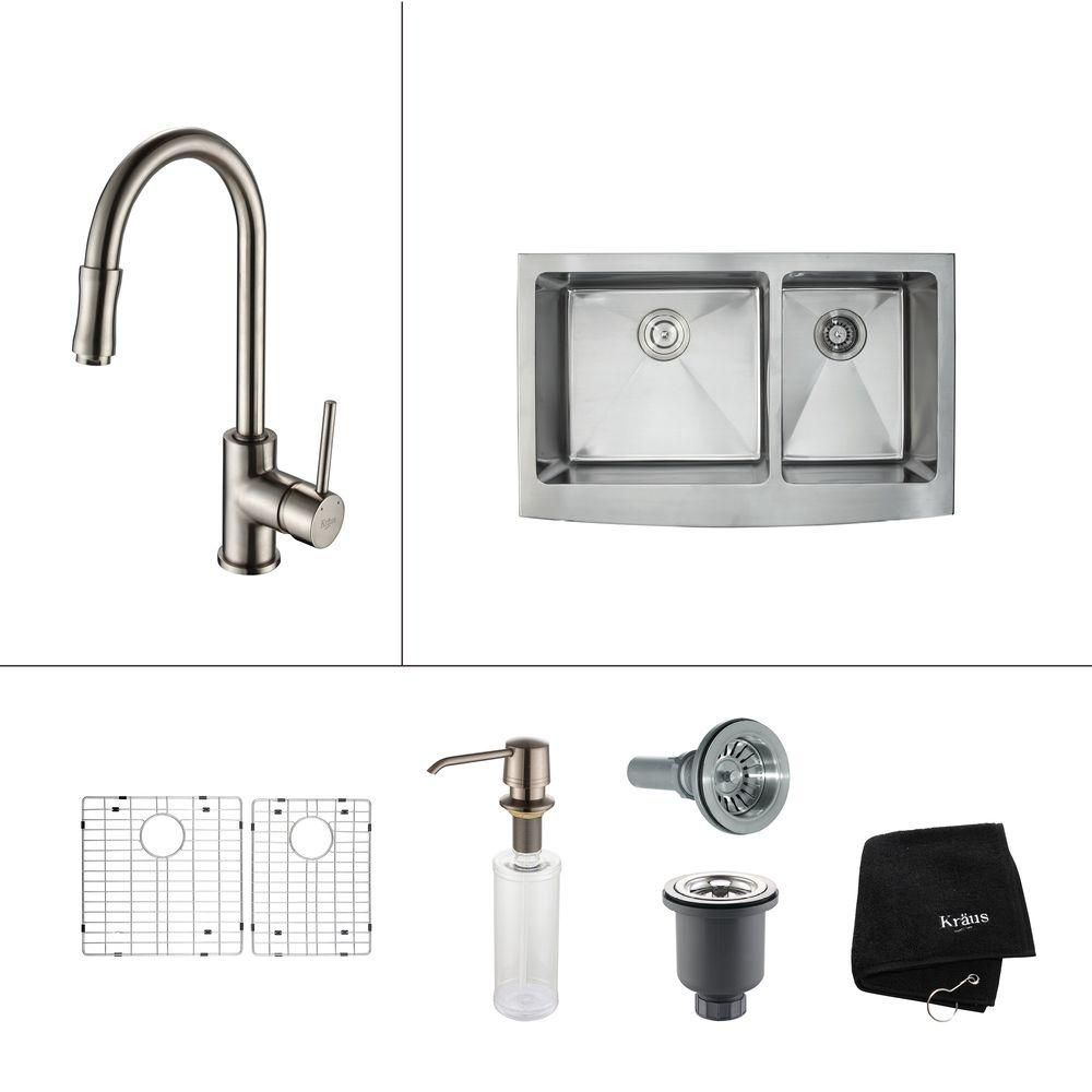 36 Inch Farmhouse Double Bowl Stainless Steel Kitchen Sink with Satin Nickel Kitchen Faucet and Soap Dispenser