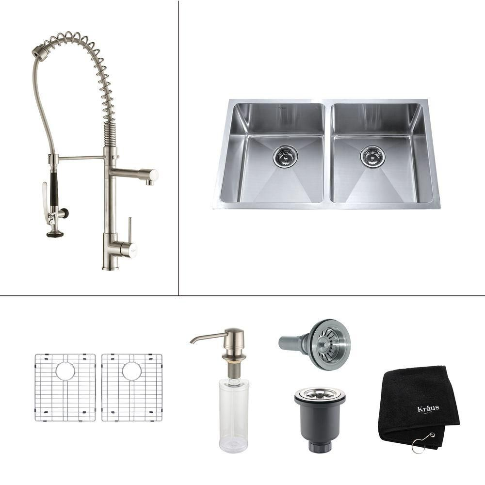 33 Inch Undermount Double Bowl Stainless Steel Kitchen Sink with Stainless Steel Finish Kitchen Faucet and Soap Dispenser KHU102-33-1602-30SS in Canada