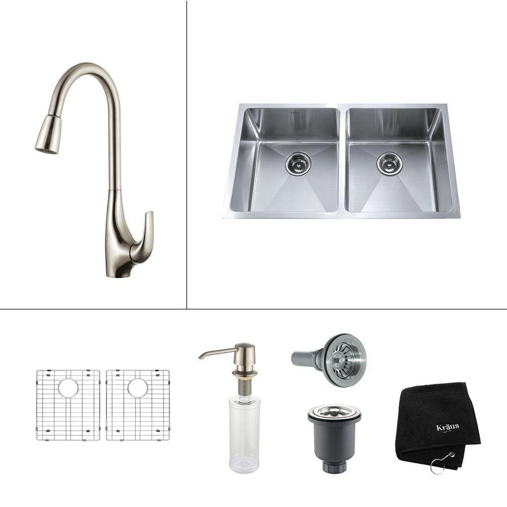 33 Inch Undermount Double Bowl Stainless Steel Kitchen Sink with Stainless Steel Finish Kitchen F...