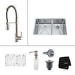 Kraus 33 Inch Undermount Double Bowl Stainless Steel Kitchen Sink with Stainless Steel Finish Kitchen Faucet and Soap Dispenser