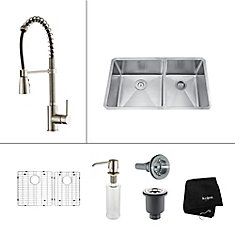33 Inch Undermount Double Bowl Stainless Steel Kitchen Sink with Stainless Steel Finish Kitchen Faucet and Soap Dispenser