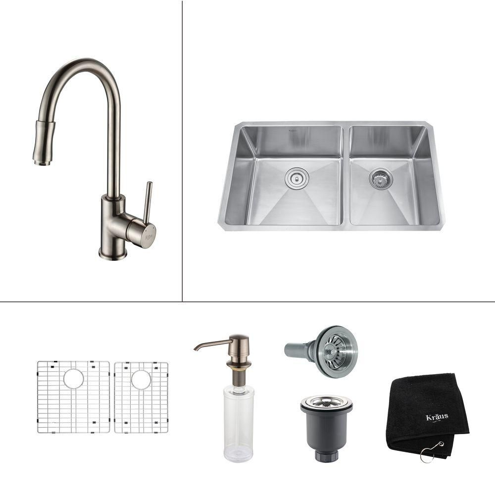 33 Inch Undermount Double Bowl Stainless Steel Kitchen Sink with Satin Nickel Kitchen Faucet and ...