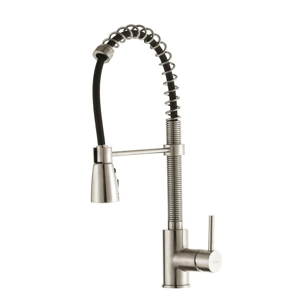 Kraus Single Lever Pull Down Kitchen Faucet in Stainless Steel