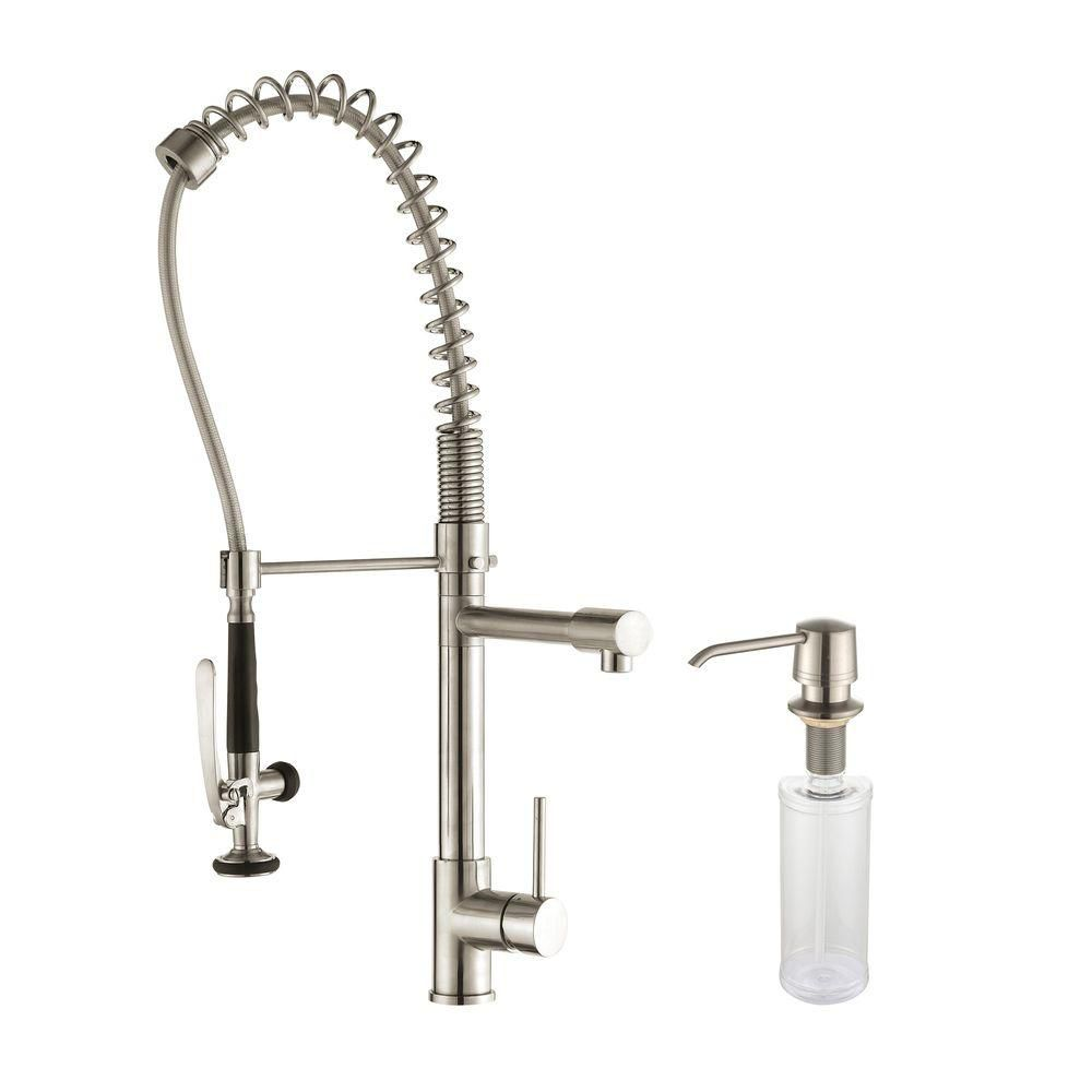 Single Handle Pull Down Kitchen Faucet Commercial Style Pre-rinse in Stainless Steel Finish and Soap Dispenser KPF-1602-KSD-30SS in Canada