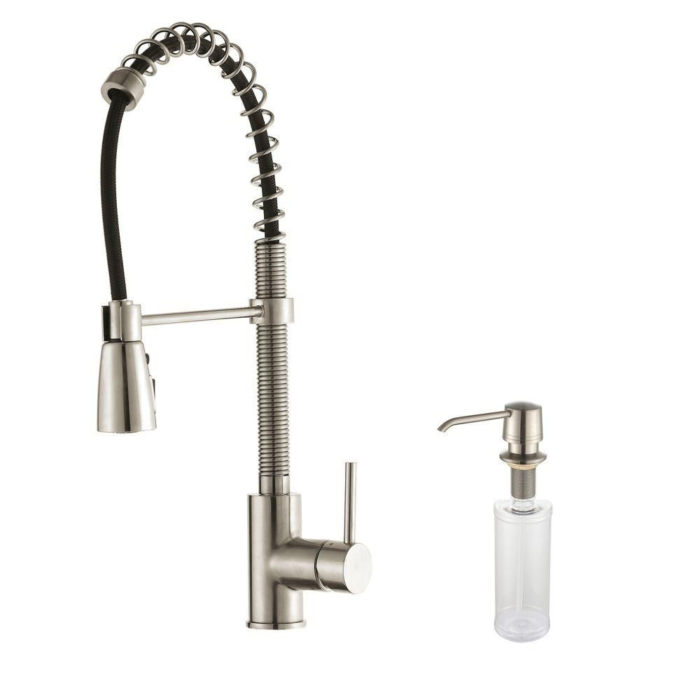 Single Lever Pull Down Kitchen Faucet Stainless Steel Finish and Soap Dispenser
