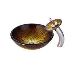 Kraus Lavabo-vasque en verre Midas et robinet à cascade, chrome