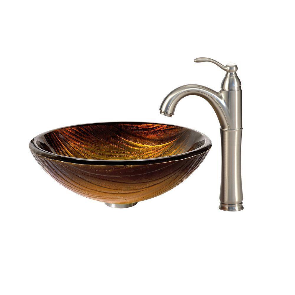 Lavabo-vasque en verre Midas et robinet Riviera, nickel satiné