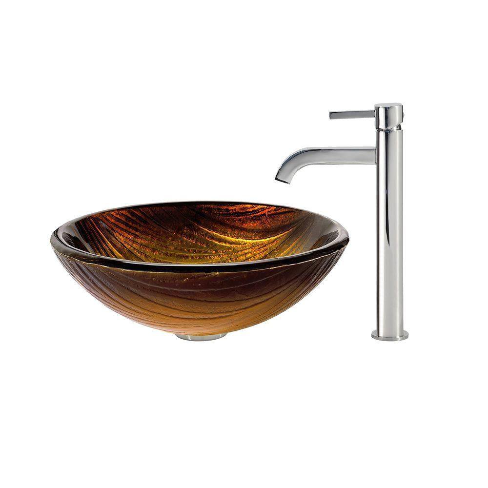 Midas Glass Vessel Sink with Ramus Faucet in Chrome