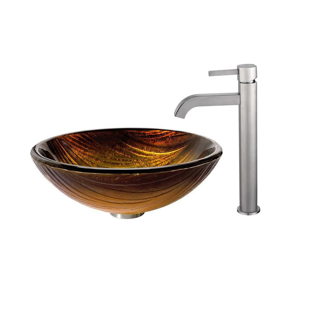 Midas Glass Vessel Sink with Ramus Faucet in Satin Nickel
