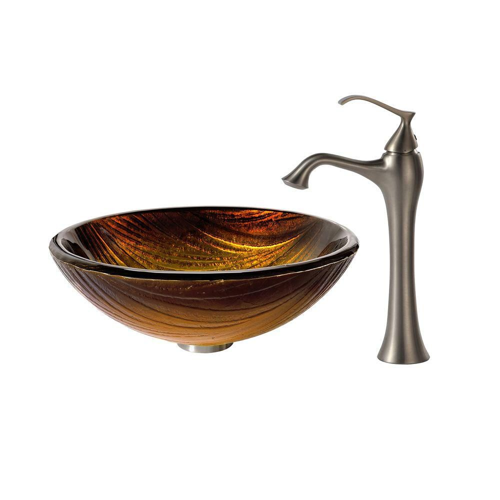 Midas Glass Vessel Sink with Ventus Faucet in Brushed Nickel