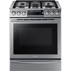 Samsung 30-inch 5.8 cu. ft. Slide-In Gas Range with Self-Cleaning Convection Oven in Stainless Steel