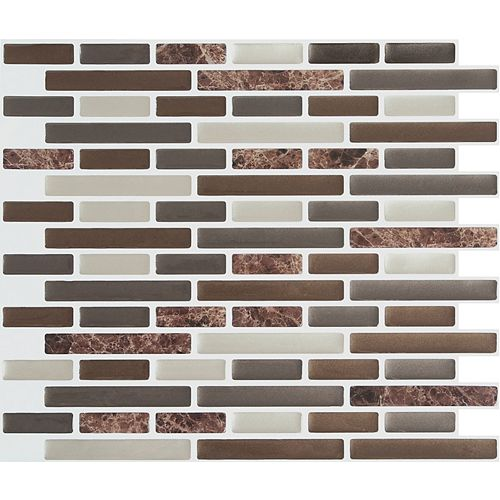 Stick-It Tiles Brown Marble Peel and Stick-It Tile 11X9.25 Bulk Pack (8 Tiles)