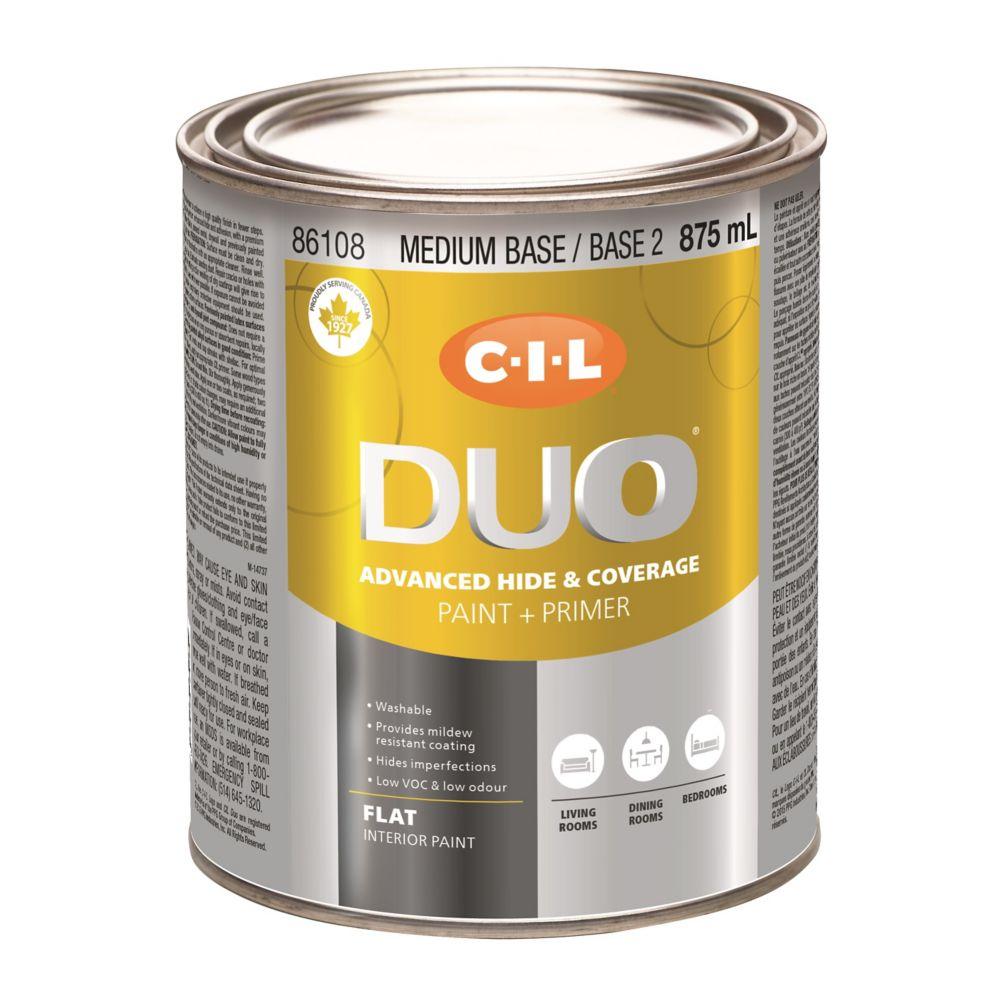 Peinture dintérieur CIL DUO fini mat - Base moyenne / Base 2, 875 mL