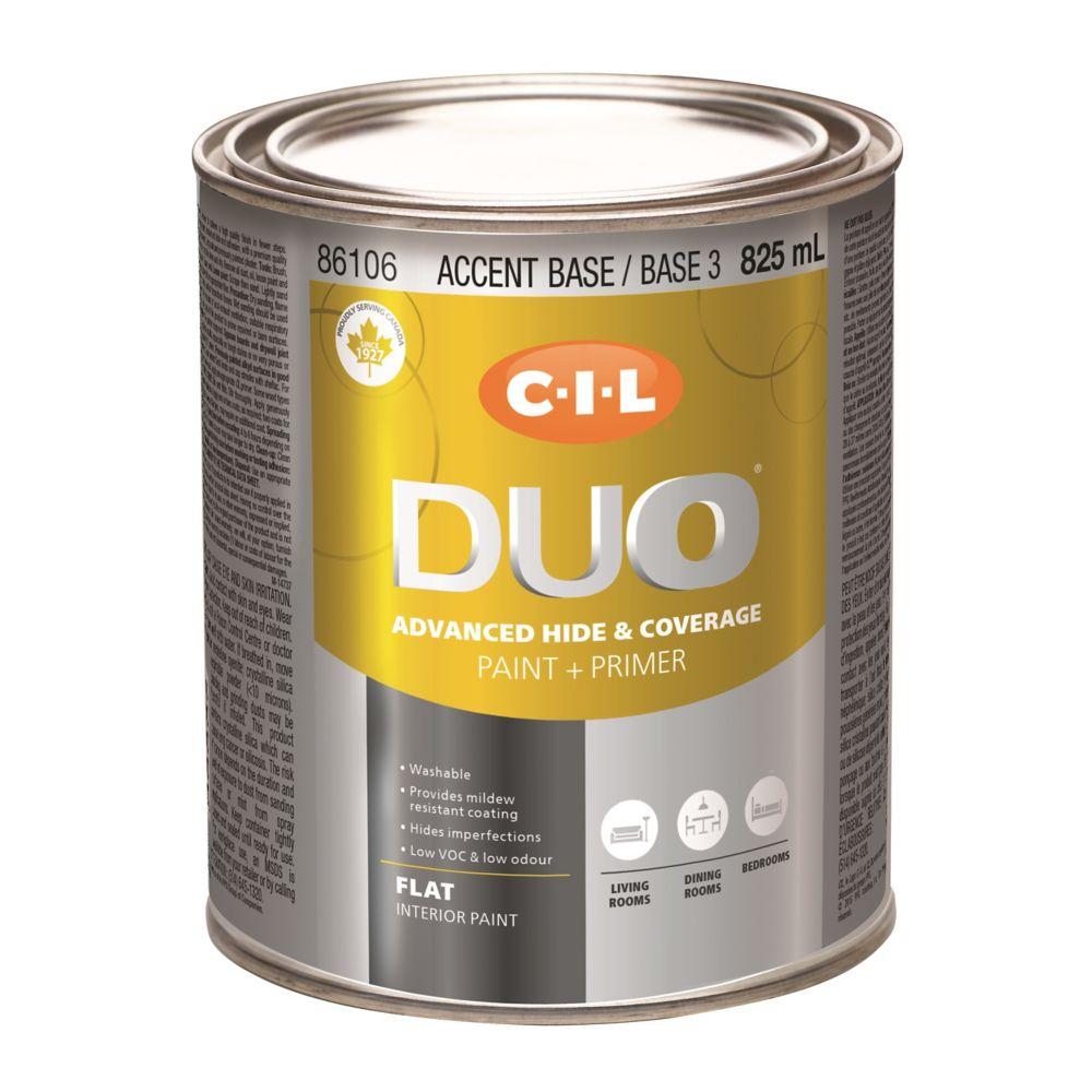 Peinture dintérieur CIL DUO fini mat - Base accent / Base 3, 825 mL