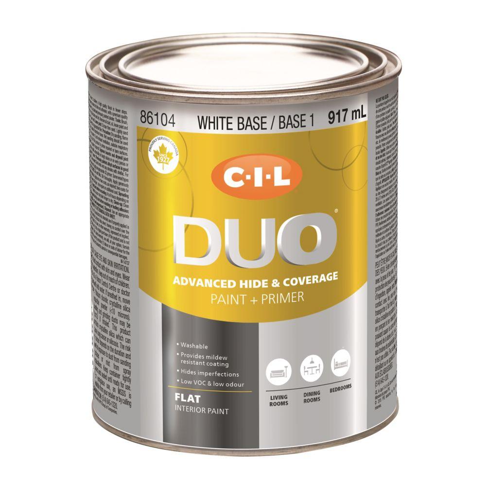 Peinture dintérieur CIL DUO fini mat - Base blanche / Base 1, 917 mL