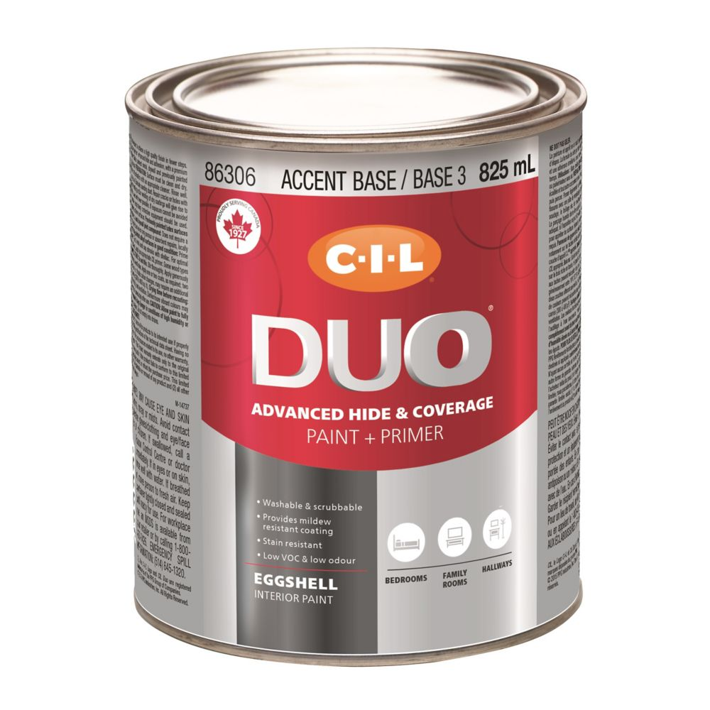 CIL DUO Interior Eggshell Accent Base / Base 3, 825 mL 86306.504 Canada Discount