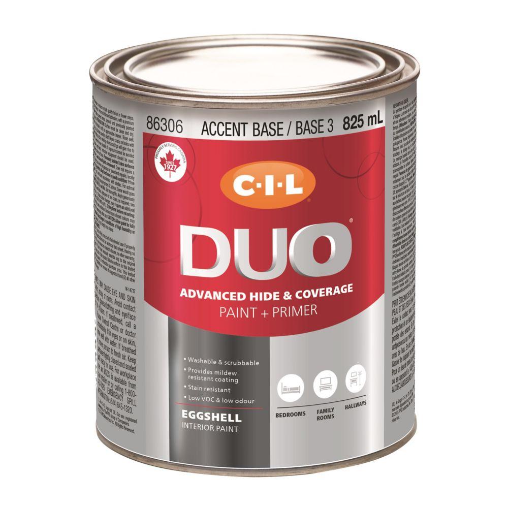 Peinture dintérieur CIL DUO fini velouté - Base accent / Base 3, 825 mL