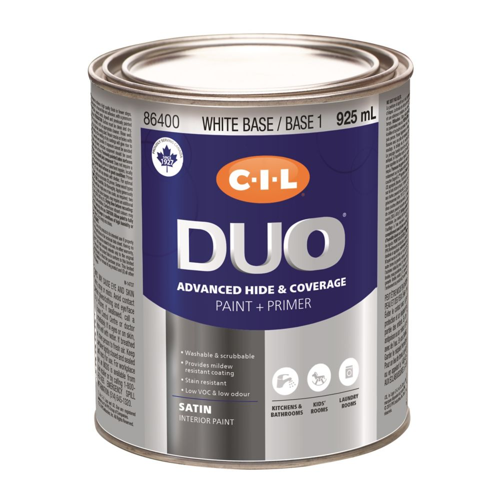 CIL DUO Interior Kitchen & Bath Satin White Base / Base 1, 925 mL