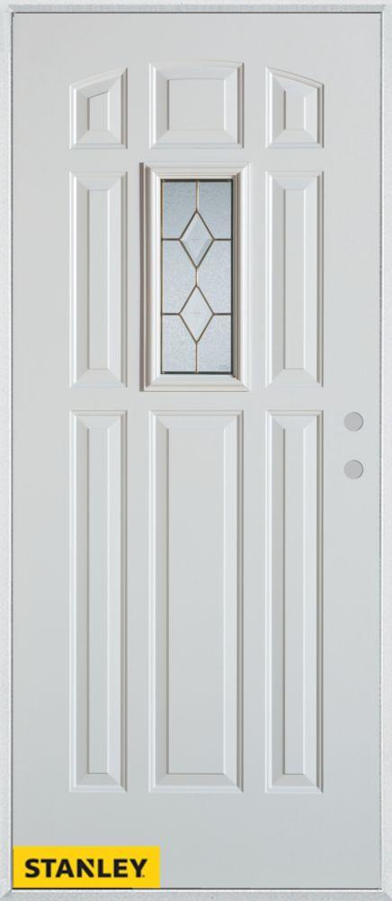 Porte dentrée en acier préfini blanc, munie de 9 panneaux et un verre rectangulaire patina, 34 po...