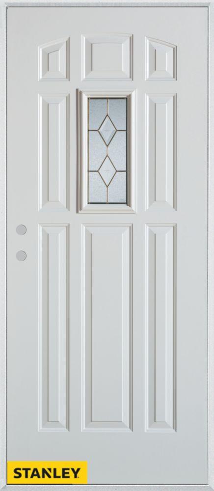 Porte dentrée en acier préfini blanc, munie de 9 panneaux et un verre rectangulaire, 34 po x 80 p...