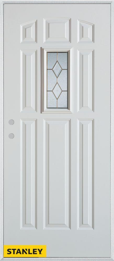 Porte dentrée en acier préfini blanc, munie de 9 panneaux et un verre rectangulaire patina, 36 po...