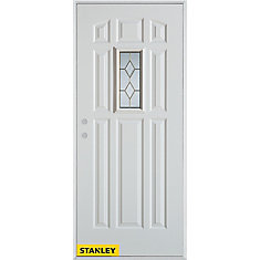34 Inch X 80 Inch Geometric Zinc 9 Panel White Steel Entry Door