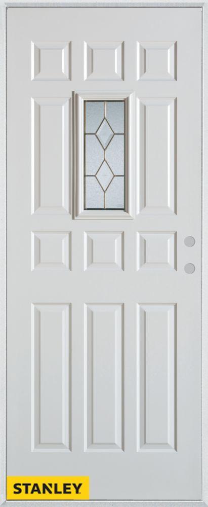 Porte dentrée en acier préfini blanc, munie de 12 panneaux et un verre rectangulaire patina, 32 p...