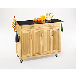 Home Styles Create-a-Cart Natural Finish Black Granite Top