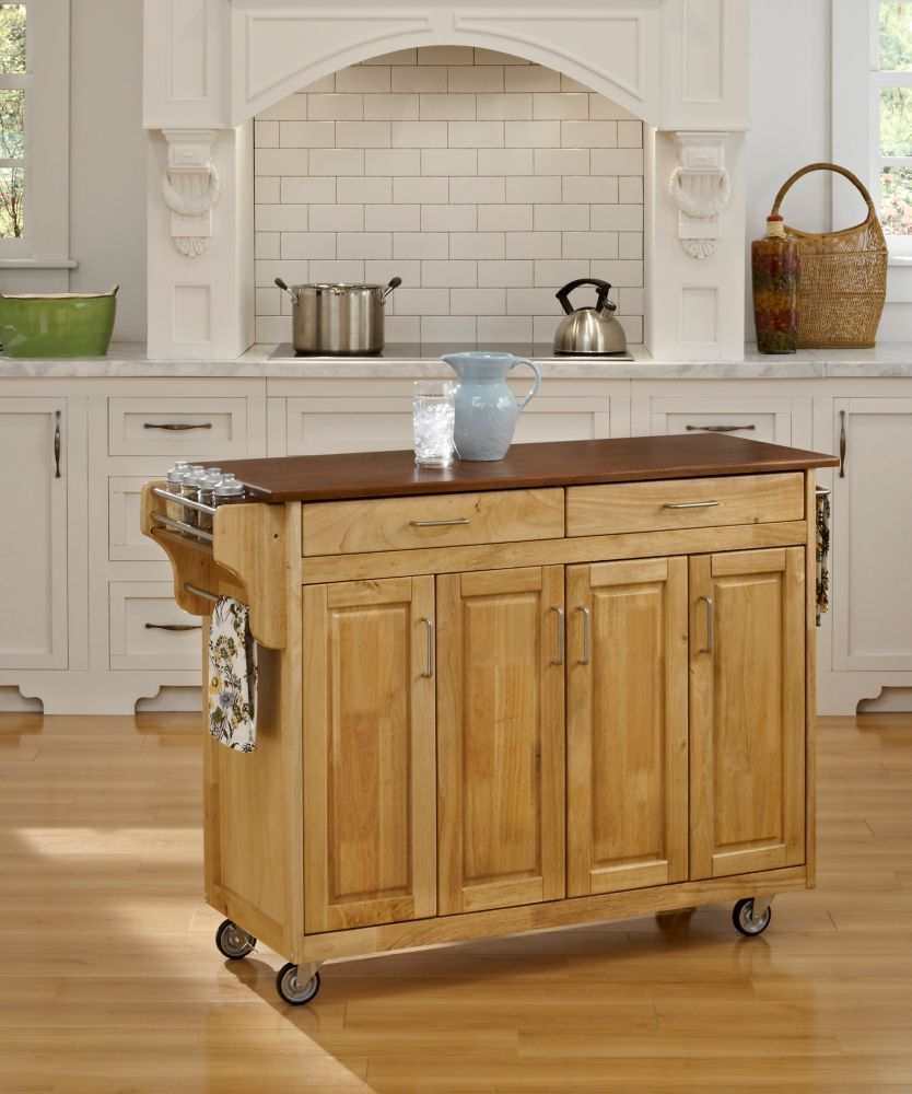 Create-a-Cart Natural Finish with Oak Top 9200-1016G Canada Discount