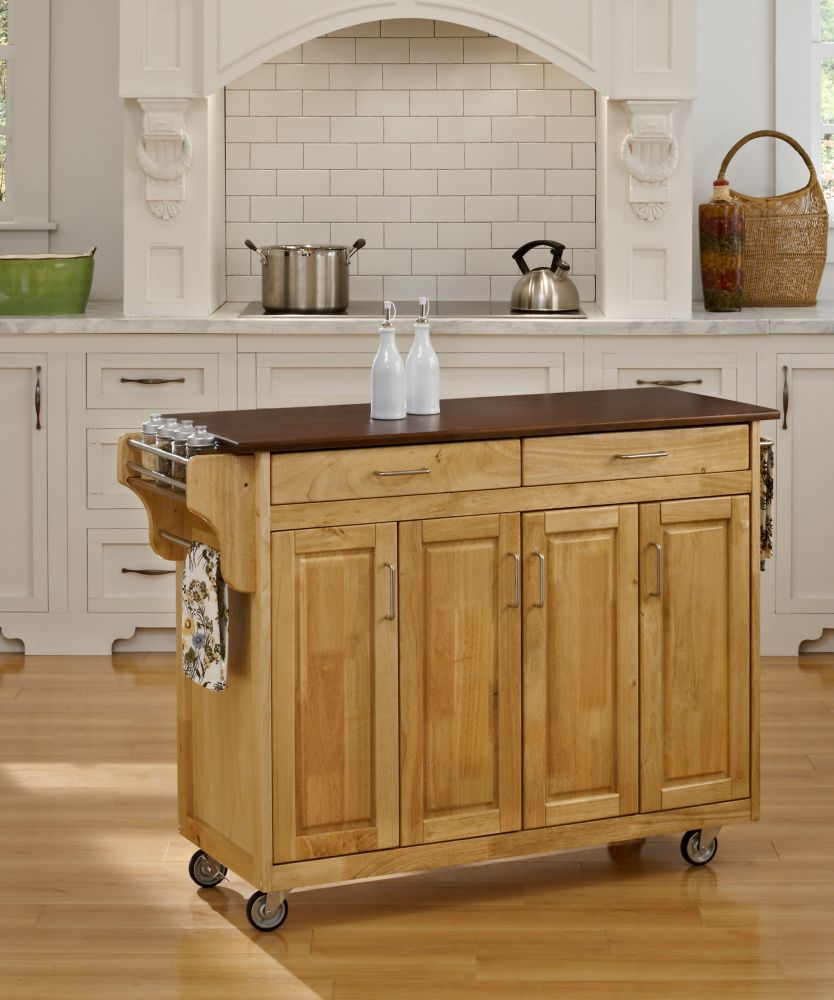 Create-a-Cart Natural Finish with Cherry Top