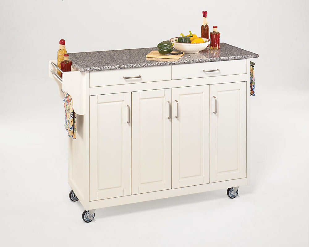 Create-a-Cart Kitchen Cart in White Finish with Granite Top