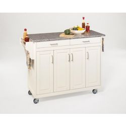 Home Styles Create-a-Cart Kitchen Cart in White Finish with Granite Top