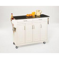 Home Styles Create-a-Cart White Finish Black Granite Top