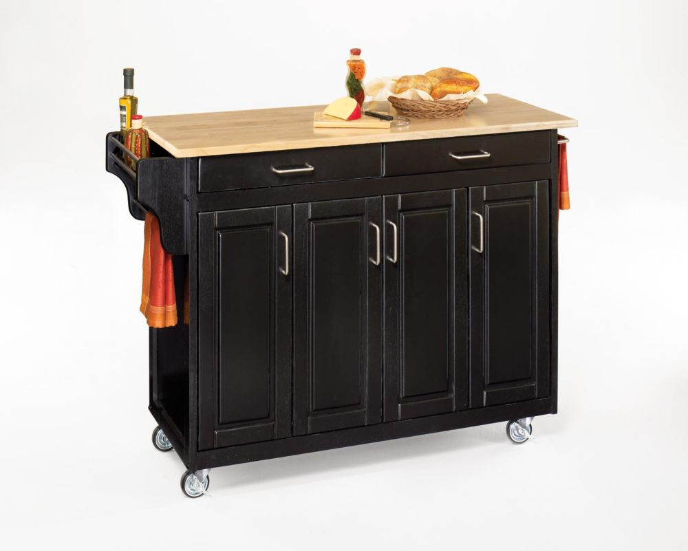 Create-a-Cart Black Finish with Wood Top 9200-1041 Canada Discount