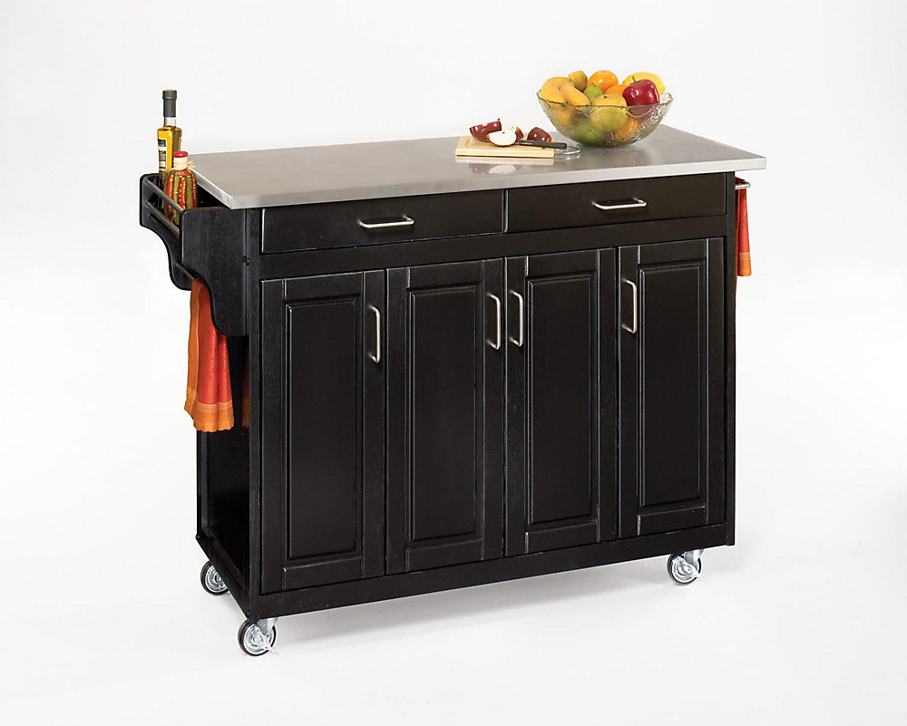 Create-a-Cart Black Kitchen Cart With Stainless Top