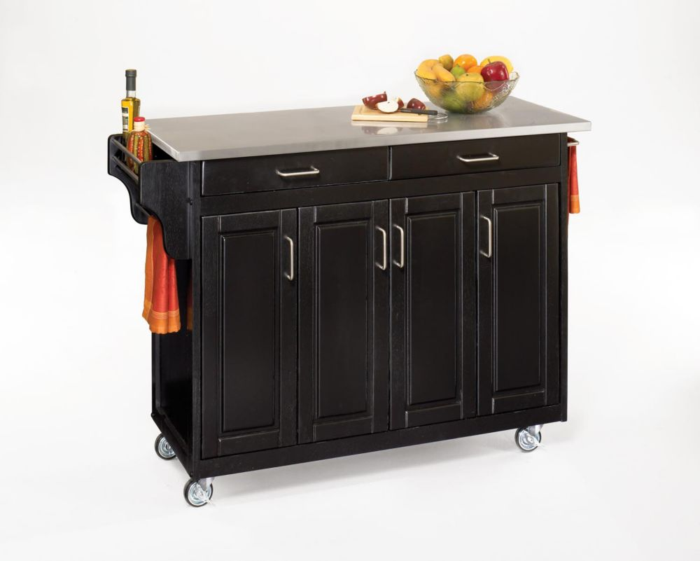 Home Styles Create-a-Cart Black Kitchen Cart With Stainless Top