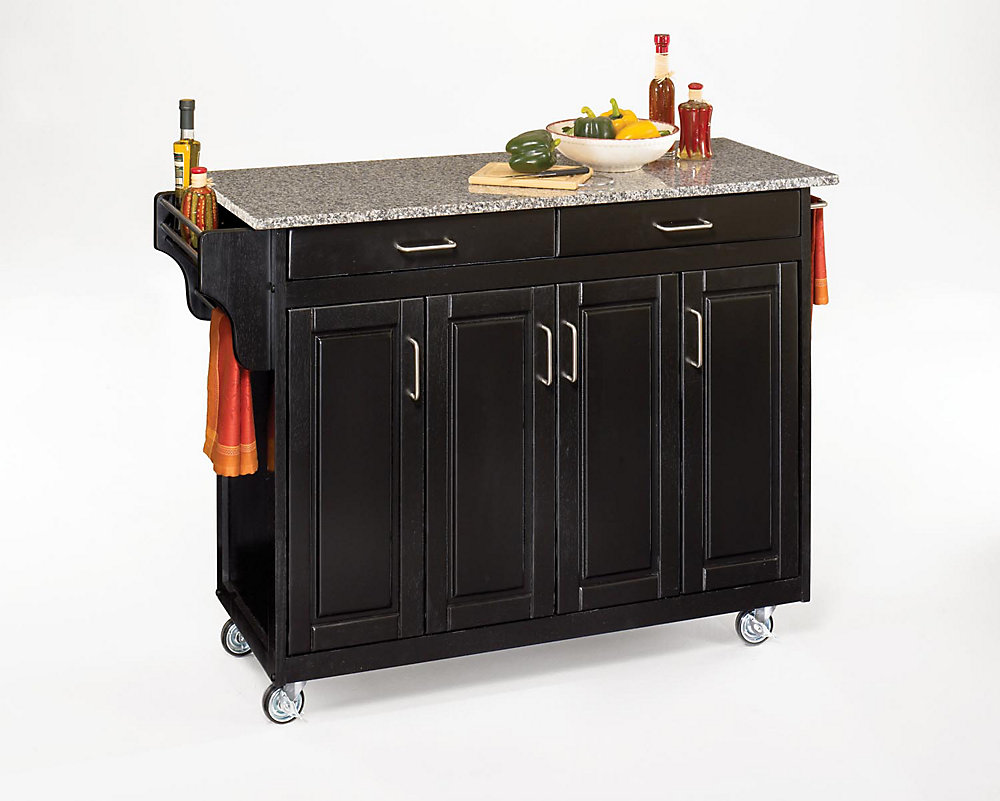 Create-a-Cart Black Kitchen Cart With Salt and Pepper Granite Top