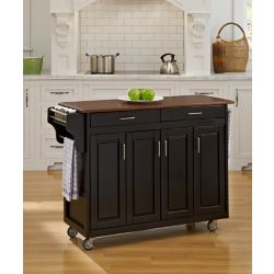 Home Styles Create-a-Cart Black Finish with Cherry Top