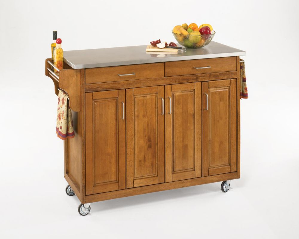 Create-a-Cart Cottage Oak Finish Stainless Top 9200-1062 Canada Discount