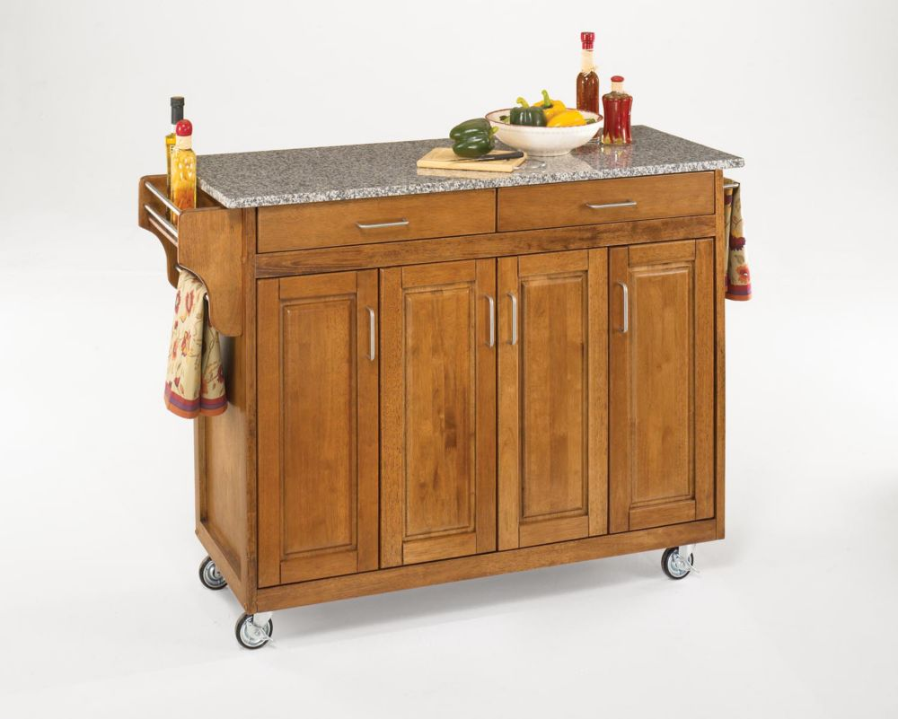 Home Styles Create-a-Cart Warm Oak Kitchen Cart With Salt and Pepper Granite Top