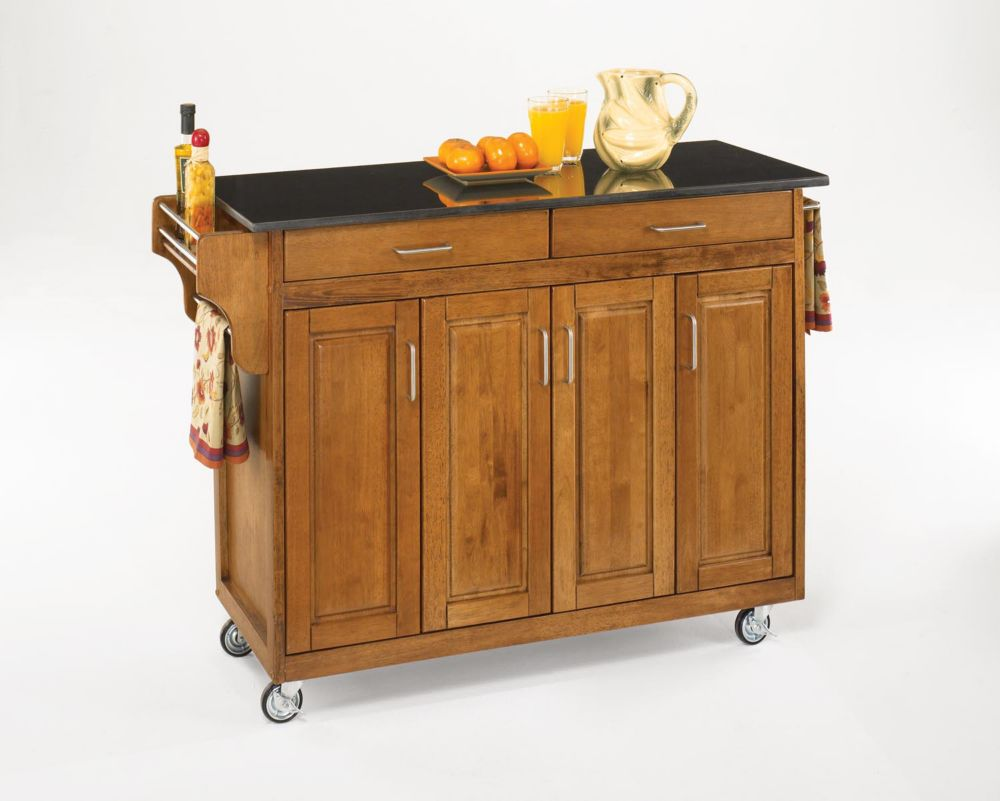 Create-a-Cart Kitchen Cart in Cottage Oak Finish with Black Granite Top