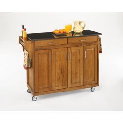 Home Styles Create-a-Cart Kitchen Cart in Cottage Oak Finish with Black Granite Top