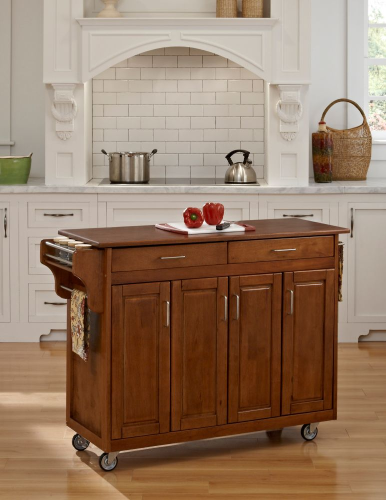 Create-a-Cart Warm Oak Finish with Oak Top 9200-1066G Canada Discount