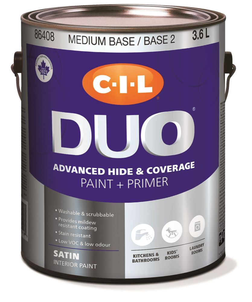 Peinture dintérieur CIL DUO pour cuisines et salles de bains fini satiné - Base moyenne/Base 2 3,...