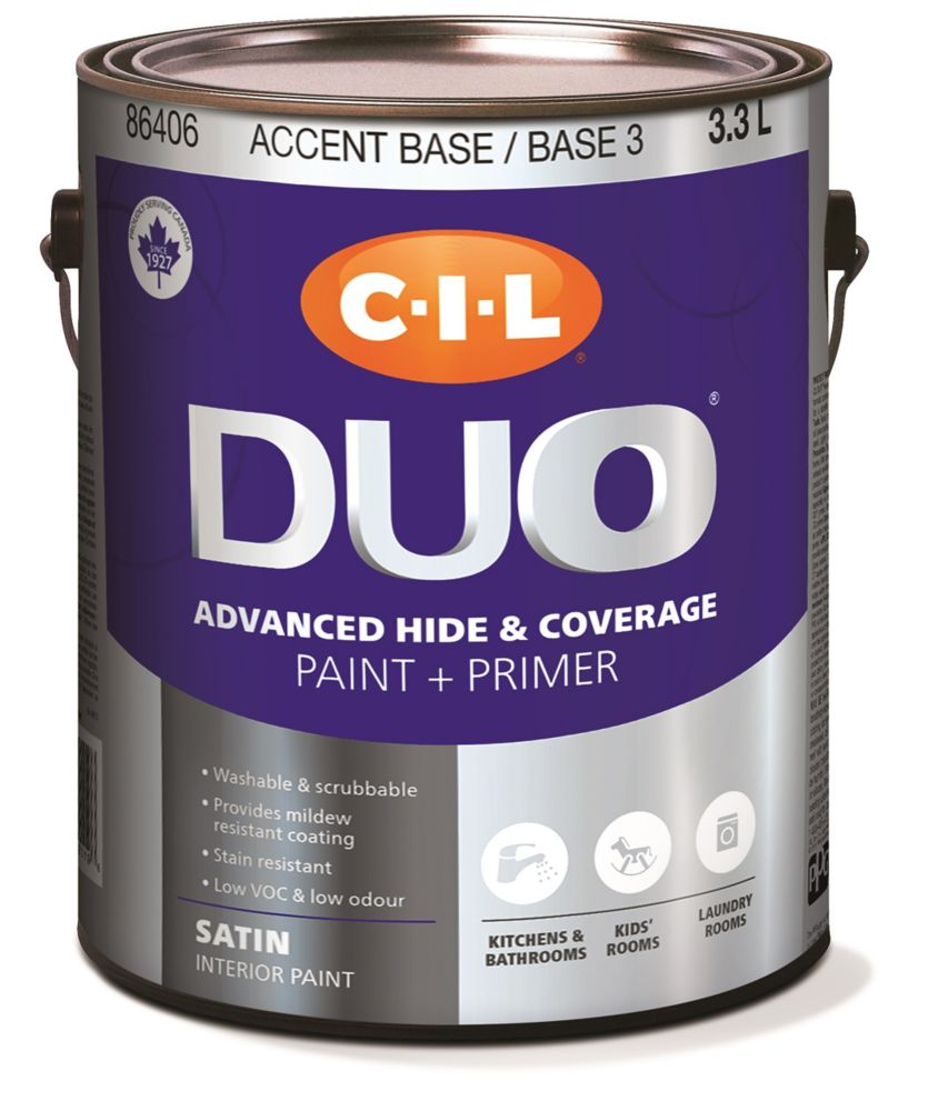 Peinture dintérieur CIL DUO pour cuisines et salles de bains fini satiné - Base accent/Base 3 3,3...