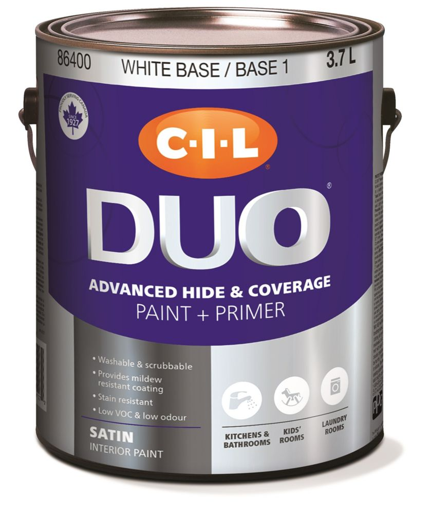 CIL DUO Interior Kitchen & Bath Satin White Base / Base 1, 3.7 L